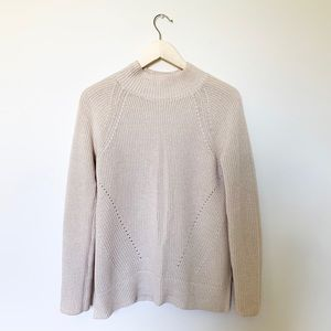 GAP Knit Mock / Crew Neck Pontelle Sweater Oatmeal